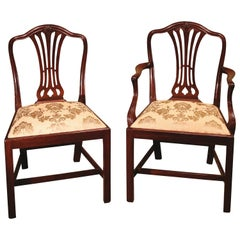 12 Single & Two Arm Late 19th Century Hepplewhite Style Camelback Dining Chairs