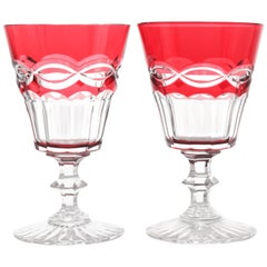 12 St. Louis Cranberry Water Goblets