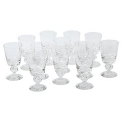 12 Steuben Goblets, Tall Heavy with Blown Teardrop Stem, Excellent Clear Crystal
