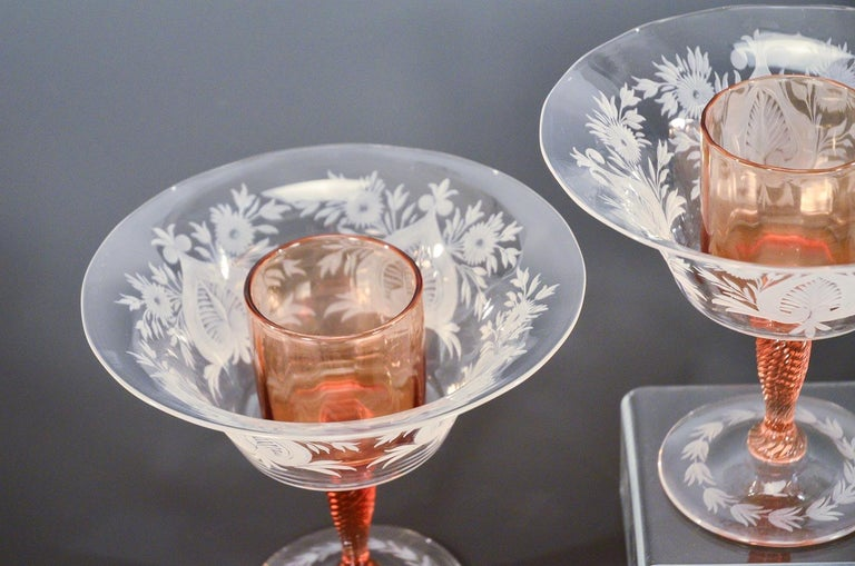 This amazing and rare set of 12 hand blown crystal large compotes beautifully exemplifies Steuben's famous combination of