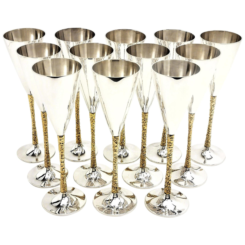 12 Stuart Devlin Sterling Silver Champagne Flutes Set 1977-1980 Glasses