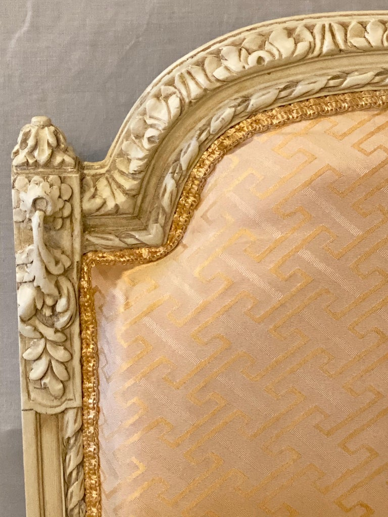 12 Swedish Louis XVI Style Dining / Side Chairs Painted Carved Frames New Fabric For Sale 6