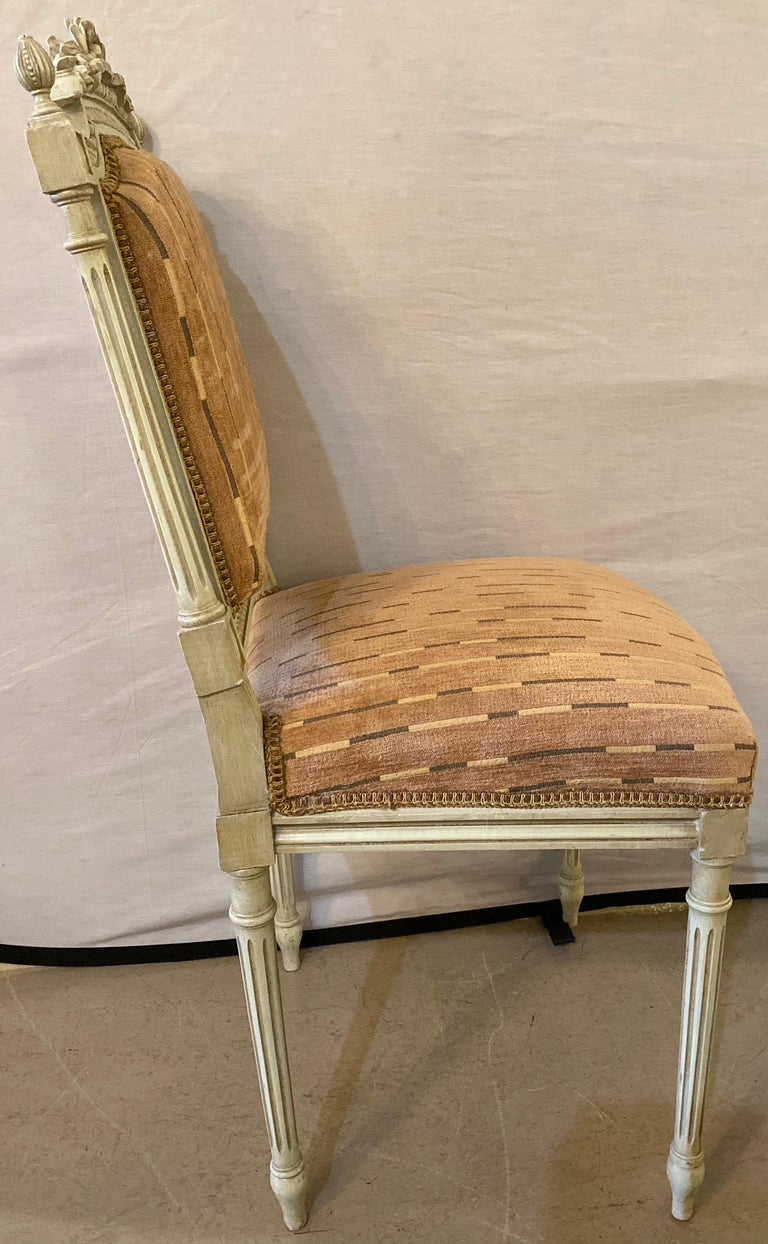 12 Swedish Louis XVI Style Dining / Side Chairs Painted Carved Frames New Fabric For Sale 7