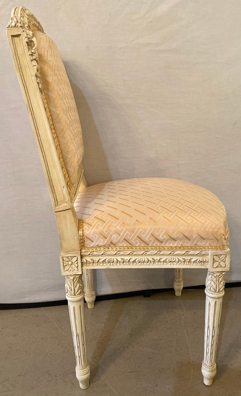12 Swedish Louis XVI Style Dining / Side Chairs Painted Carved Frames New Fabric For Sale 8
