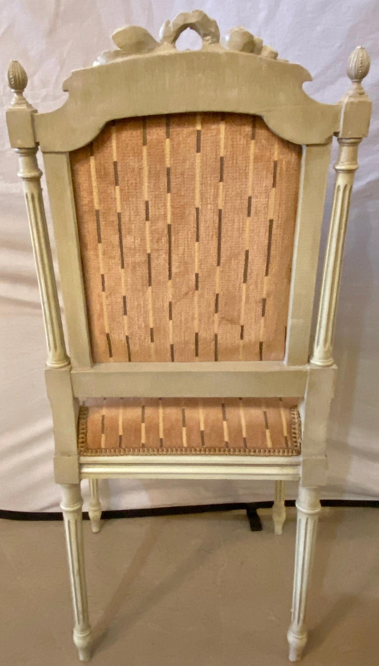 12 Swedish Louis XVI Style Dining / Side Chairs Painted Carved Frames New Fabric For Sale 9