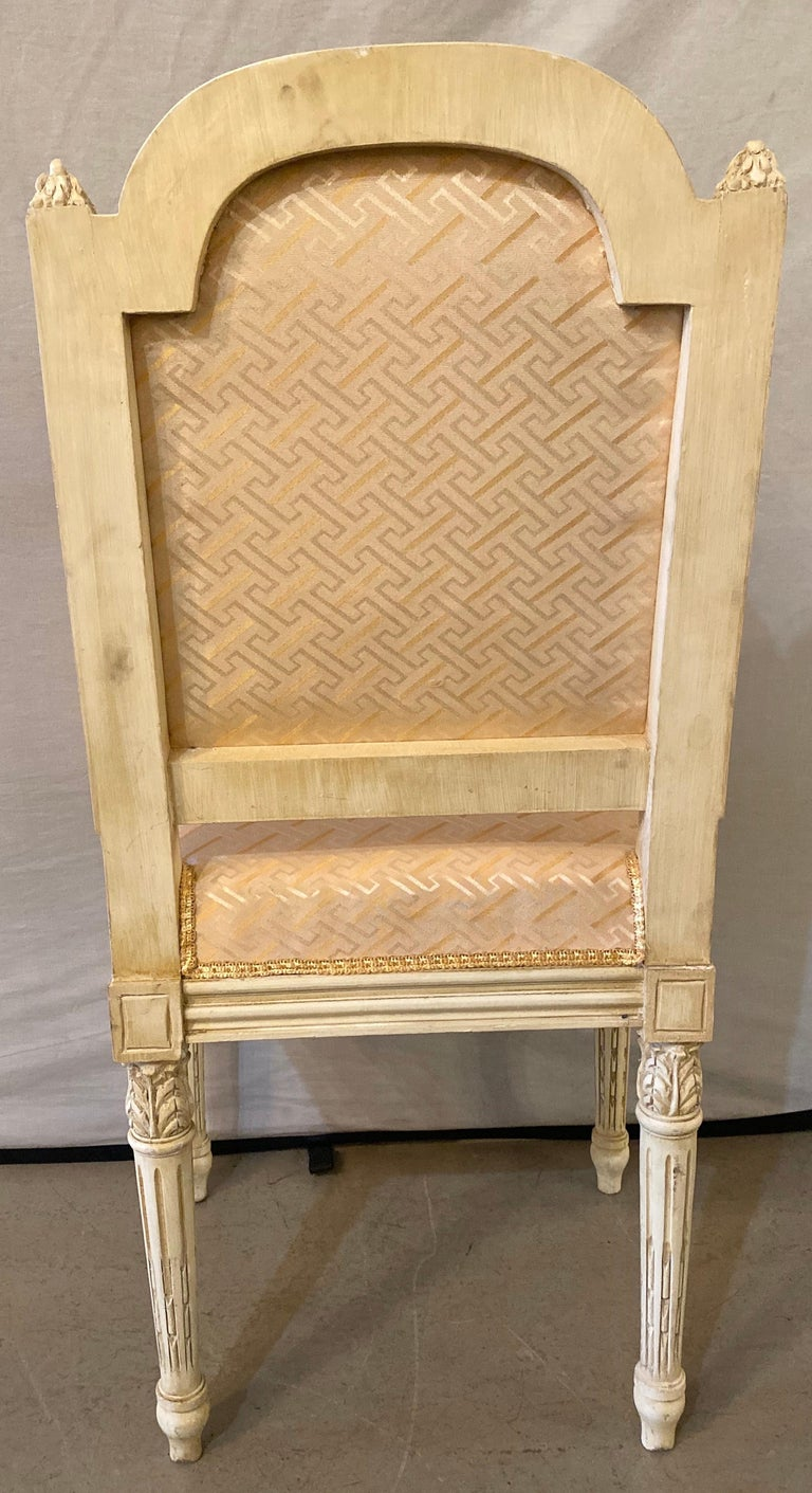 12 Swedish Louis XVI Style Dining / Side Chairs Painted Carved Frames New Fabric For Sale 10
