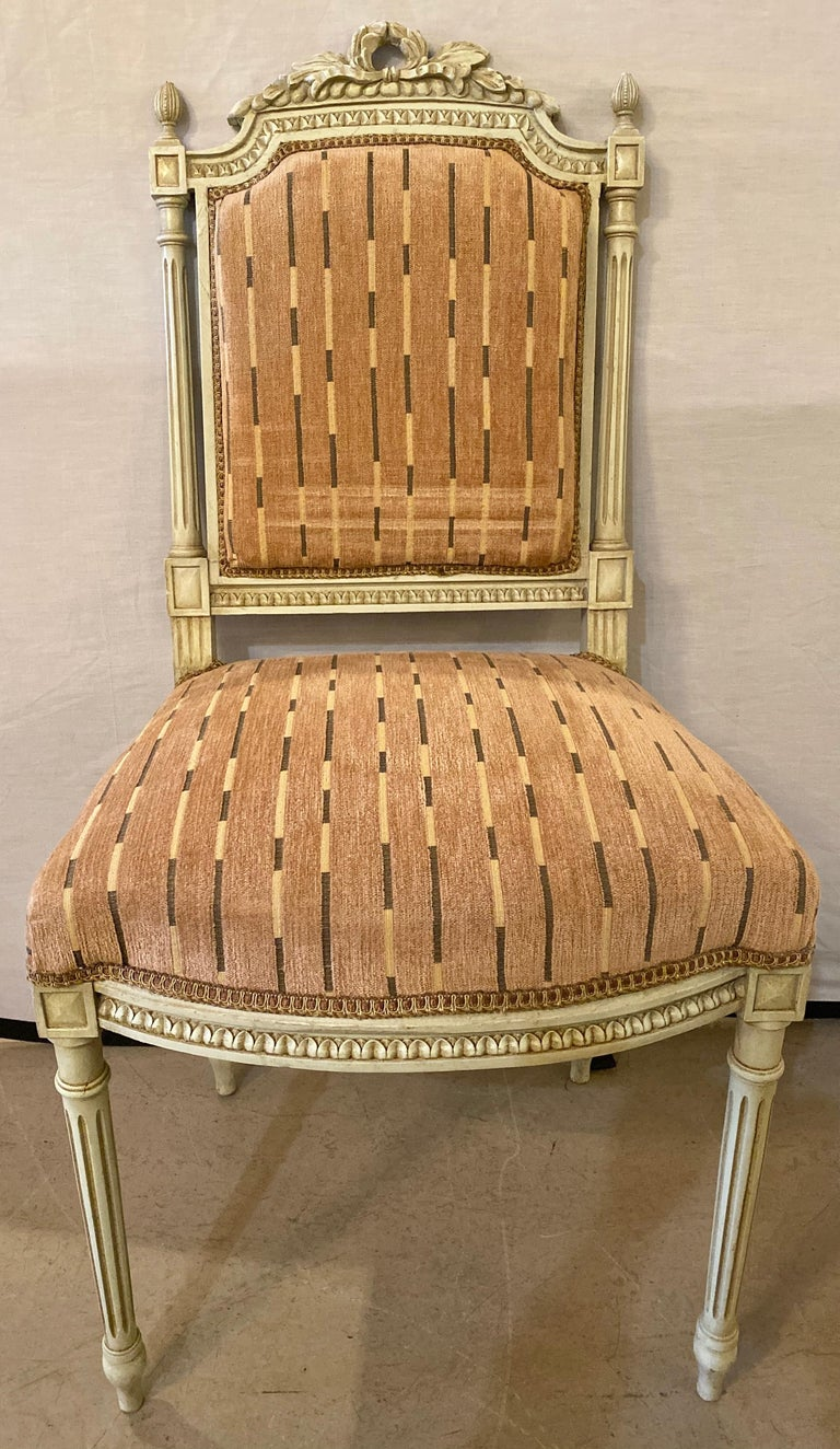 12 Swedish Louis XVI Style Dining / Side Chairs Painted Carved Frames New Fabric In Good Condition For Sale In Stamford, CT
