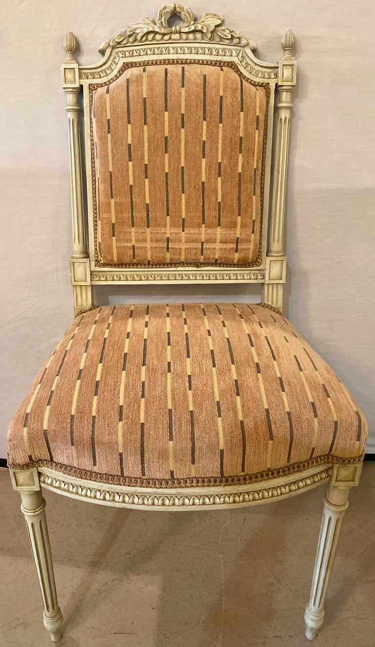 20th Century 12 Swedish Louis XVI Style Dining / Side Chairs Painted Carved Frames New Fabric For Sale