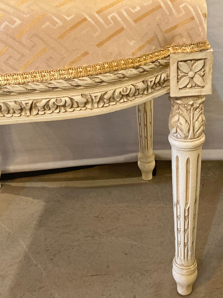 12 Swedish Louis XVI Style Dining / Side Chairs Painted Carved Frames New Fabric For Sale 1
