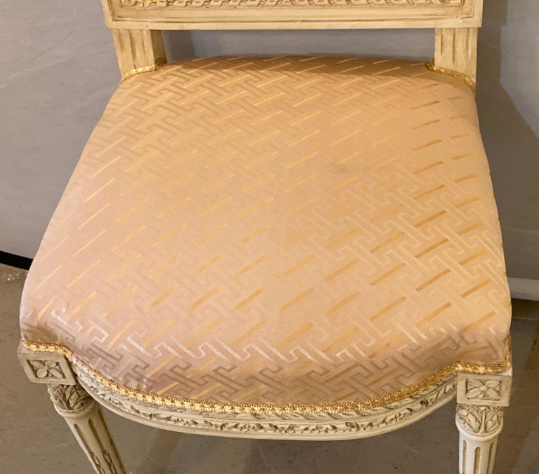 12 Swedish Louis XVI Style Dining / Side Chairs Painted Carved Frames New Fabric For Sale 3