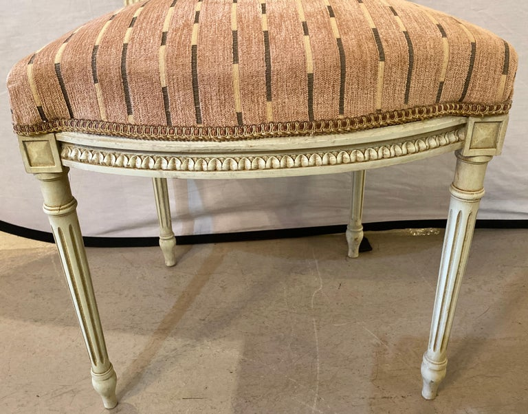 12 Swedish Louis XVI Style Dining / Side Chairs Painted Carved Frames New Fabric For Sale 4