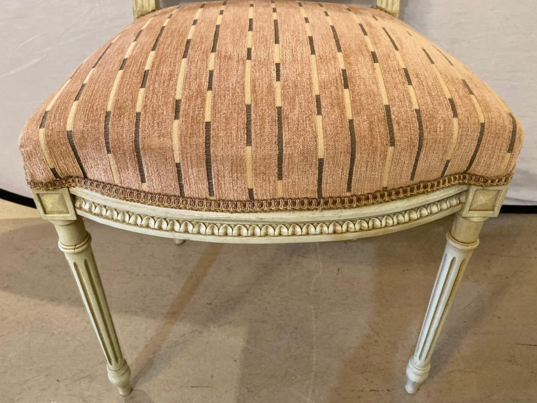 12 Swedish Louis XVI Style Dining / Side Chairs Painted Carved Frames New Fabric For Sale 5