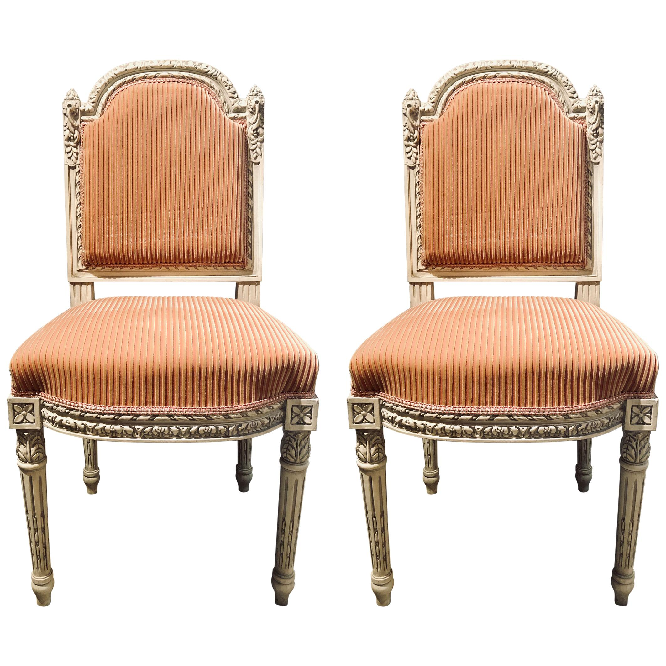12 Swedish Louis XVI Style Dining / Side Chairs Painted Carved Frames New Fabric