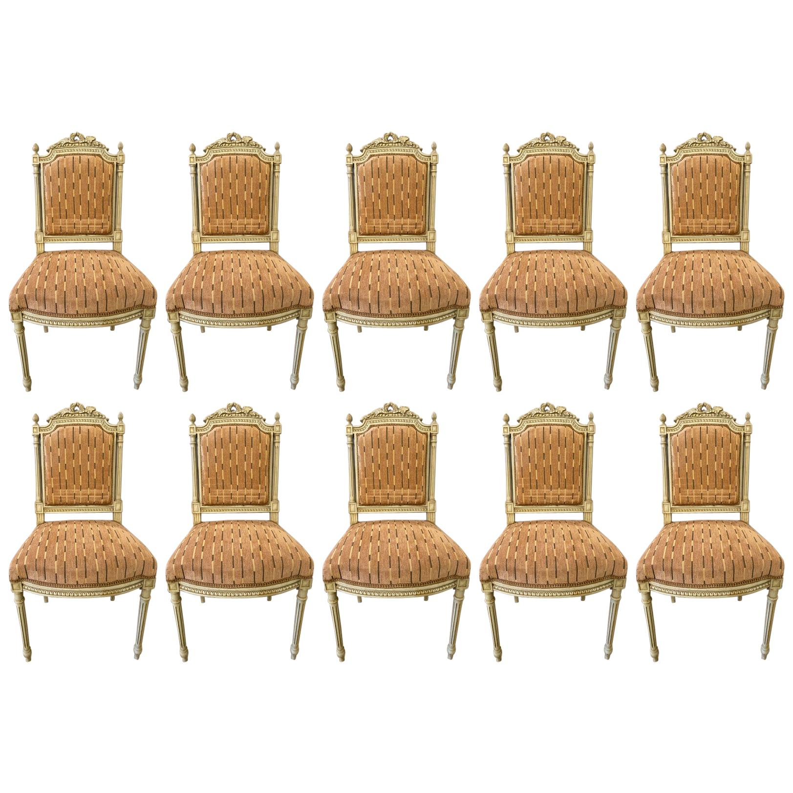 10 Swedish Louis XVI Style Dining / Side Chairs Painted Carved Frames New Fabric