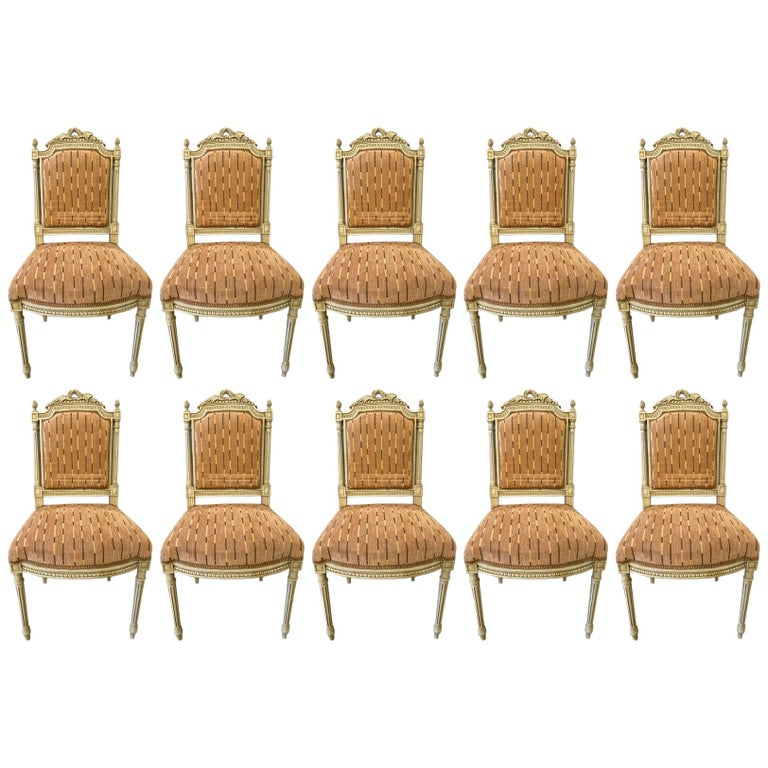 12 Swedish Louis XVI Style Dining / Side Chairs Painted Carved Frames New Fabric For Sale