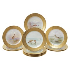 12 Tiffany Antique Porcelain Game Bird Plates, Hand Painted, circa 1920