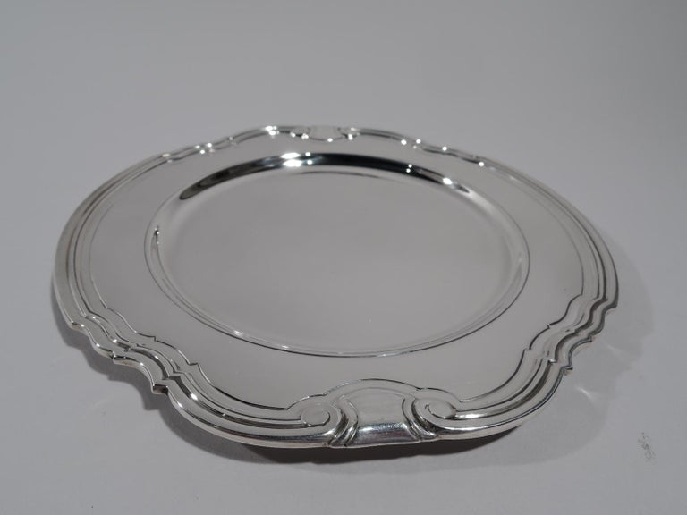 American 12 Tiffany Art Deco Sterling Silver Bread and Butter Plates in Castilian For Sale