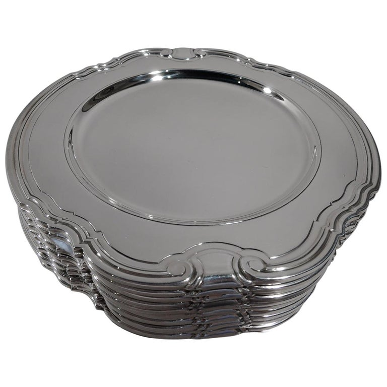 12 Tiffany Art Deco Sterling Silver Bread and Butter Plates in Castilian For Sale