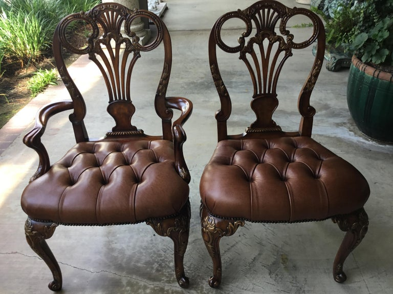 12 Traditional Style Leather Seat Dining Chairs by Theodore Alexander For Sale 1