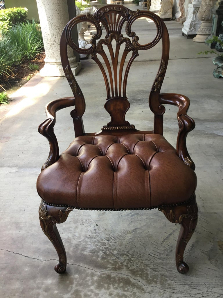 12 Traditional Style Leather Seat Dining Chairs by Theodore Alexander For Sale 2