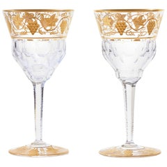 "12 Val St. Lambert ""Pampre D'Or"" Water Goblets"