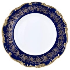 12 Vintage Cobalt Blue Dinner Plates by Coalport England, Great Shape