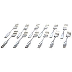 12 Vintage Hotel Silver Plate Dinner Forks by Oneida