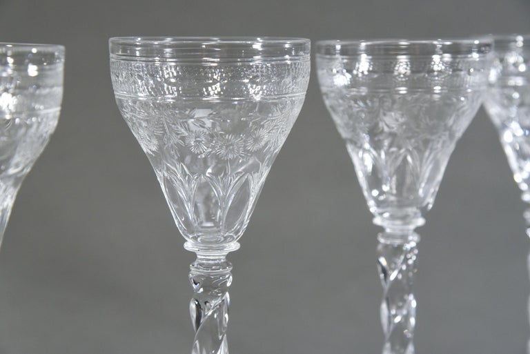 English 12 Webb Hand Blown Tall Crystal Goblets Wheel Cut with Twist Spiral Stem For Sale