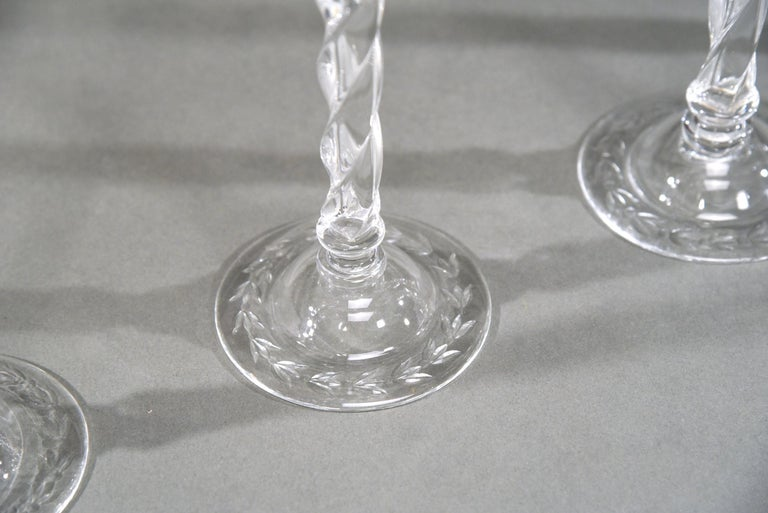 Engraved 12 Webb Hand Blown Tall Crystal Goblets Wheel Cut with Twist Spiral Stem For Sale