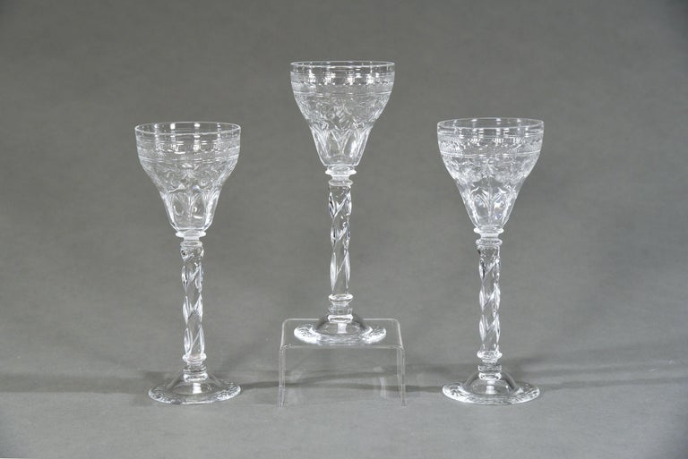 Early 20th Century 12 Webb Hand Blown Tall Crystal Goblets Wheel Cut with Twist Spiral Stem For Sale