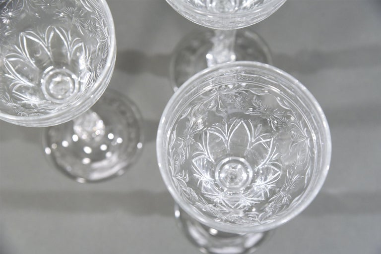 Blown Glass 12 Webb Hand Blown Tall Crystal Goblets Wheel Cut with Twist Spiral Stem For Sale