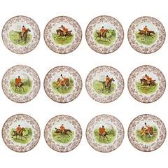 "12 Wedgwood Hand-Painted Transferware ""Patrician Hunt"" Porcelain Display Plates"