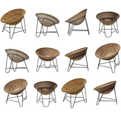 12 Wicker Midcentury Easy-Lounge-Patio Chairs Designed in Europe, 1960s