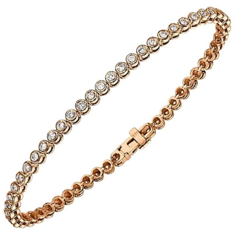 Round Cut 1.20 Carat 14 Karat Rose Gold Diamond Bracelet, Diamond Cups Tennis Bracelet For Sale