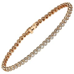1.20 Carat 14 Karat Rose Gold Diamond Bracelet, Diamond Cups Tennis Bracelet