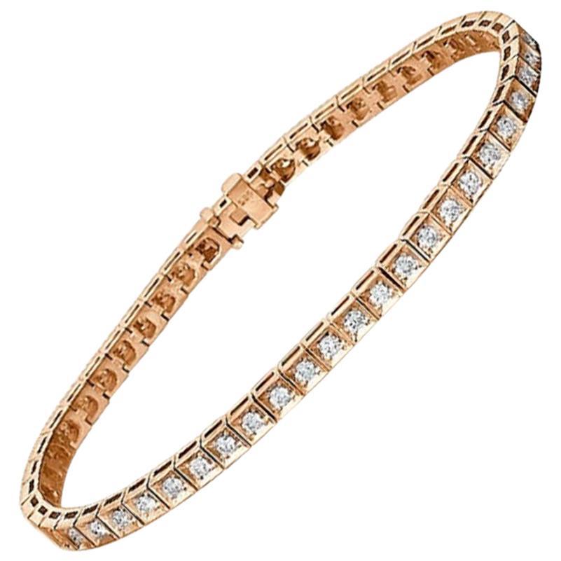 1.20 Carat 14 Karat Rose Gold Round Diamond Bracelet, Tennis Bracelet