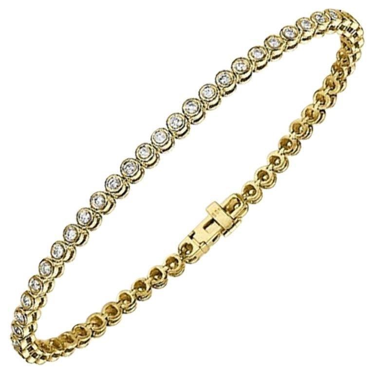 Round Cut 1.20 Carat 14 Karat Yellow Gold Bracelet Diamond Bracelet Bezel Diamond Bracelet For Sale