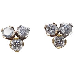 1.20 Carat 3 Color Gold Stud Studs Earrings