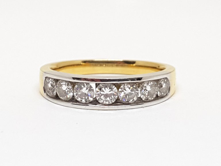 Gold: 18 Karat Yellow & White Gold  Weight: 4.12 grams. Diamonds: 1.20 ct. Color: F clarity: VS1 Width: 0.177 inches. Ring size: US 7.00 Free resizing of Ring up to size US 13 All our jewellery comes with a certificate and 5 years guarantee  Please