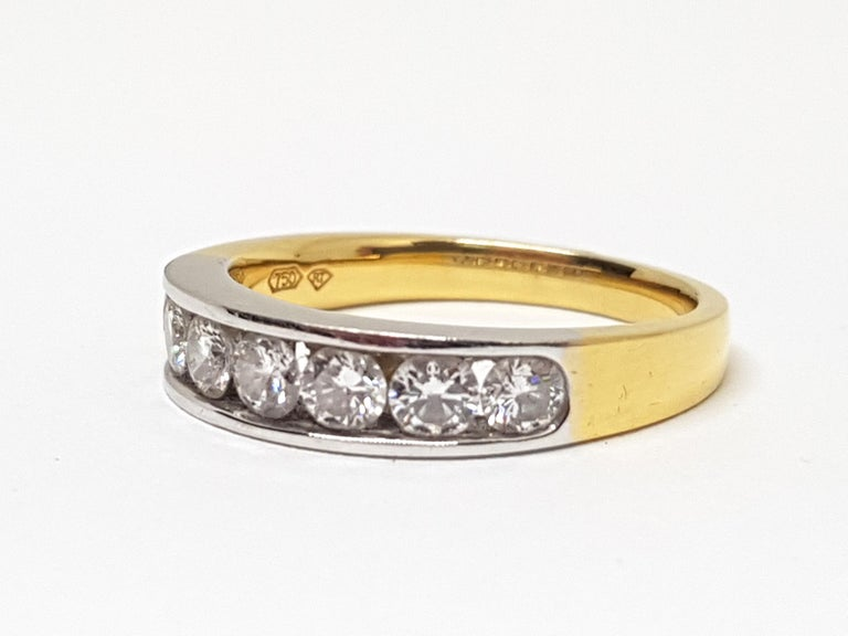 1.20 Carat 7-Stone Diamond Memory Ring In New Condition For Sale In Antwerp, BE