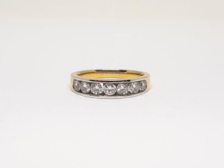 Women's 1.20 Carat 7-Stone Diamond Memory Ring For Sale