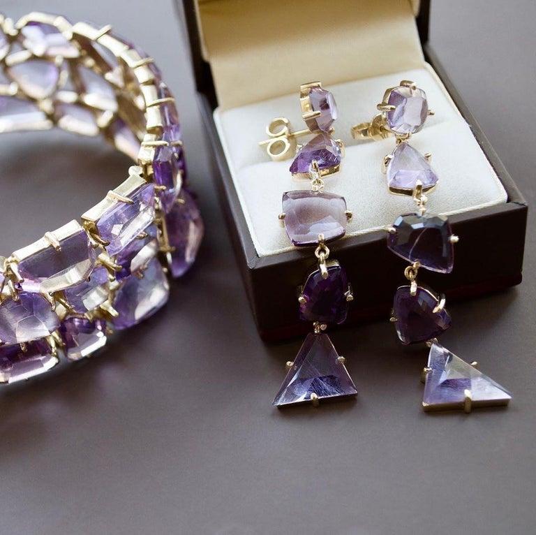 120 Carat Amethyst Rose de France 14 Karat Yellow Gold Bracelet In New Condition For Sale In Yerevan, AM