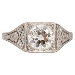 1.20 Carat Art Deco Diamond Platinum Engagement Ring