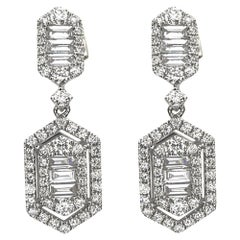 1.20 Carat Baguette Diamond Earrings