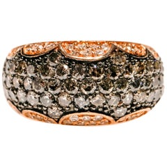1.20 Carat Black Diamond 0.50 Ct Diamond 14 Karat Rose Gold Band Ring in Stock