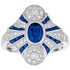 1.20 Carat Blue Sapphire Diamond Gold Ring