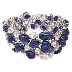 120 Carat Burmese Unheated Sapphire Cabochons and Rose Cut Diamond Bracelet