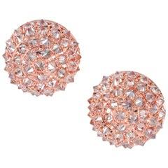 1.20 Carat Champagne Diamond Rose Gold Cluster Earrings