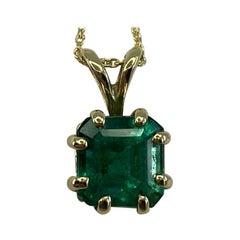 1.20 Carat Deep Green Emerald Square Octagon Cut Yellow Gold Solitaire Pendant