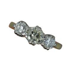 1.20 Carat Diamond and 18 Carat Gold Trilogy Ring